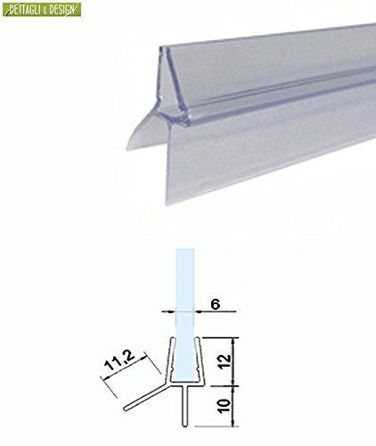 2, 20 mt - Guarnizione box doccia sottoporta trasparente a Gocciolatoio doppia aletta per vetro 6 mm Glass Com S.r.l.