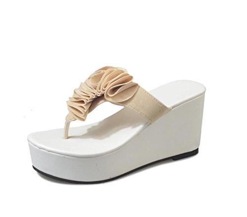 Womens Beige cuña talón Chanclas Chanclas caseros Toe la Clip en de Chanclas Verano con Sandalias Zapatos Vacaciones de de Playa DANDANJIE dxR67d