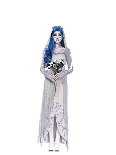 [4 PC. Ladies Corspe Bride Dress Set - Medium/Large - Grey/Blue] (Corspe Bride Costumes)