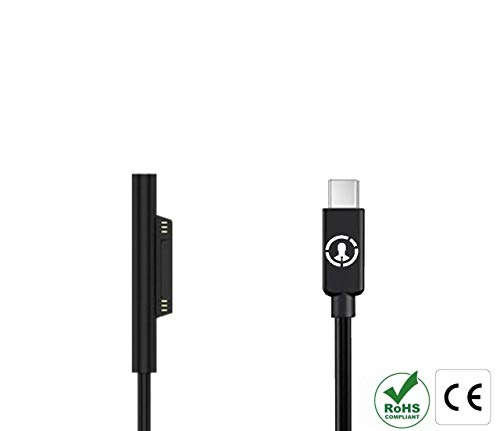 J-Go Tech 15V Surface Connect to USB-C Cable   Works with 45W USB C PD Chargers   Charges Microsoft Surface Pro 6 Pro 5 Pro 4 Pro 3, Surface Book, Surface Go, Surface Laptop from J-Go Tech