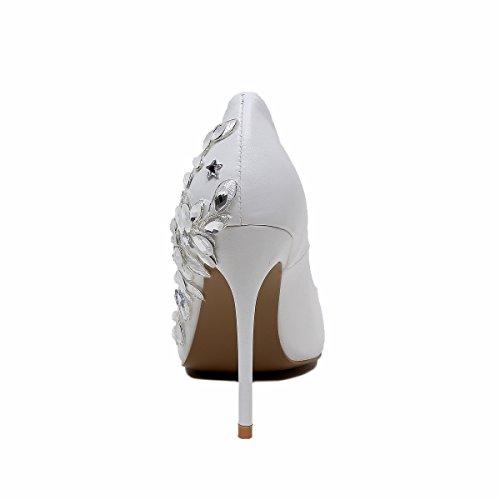 poco White grandi Sharp tacco Scarpe Scarpe di DYF alto Strass Pizzi dimensioni bocca profonda FYM IY6vwpxY