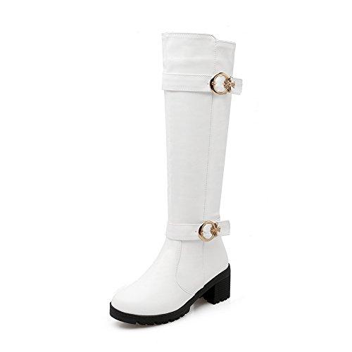 AdeeSu Ladies Chunky Heels Buckle Platform Imitated Leather Boots White AuxnjREmnV