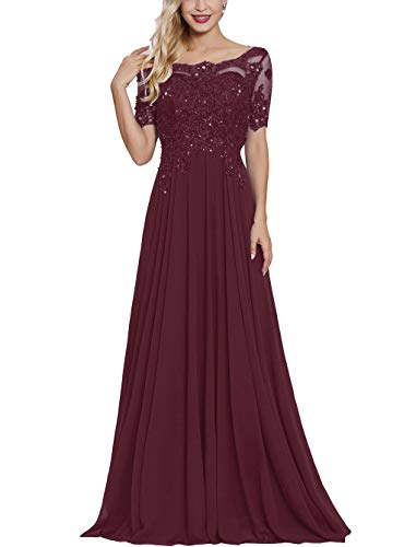 Wine Red Lace Applique Mother of The Bride Dresses Long with Sleeves Bateau Neck Maxi Formal Evening Dress