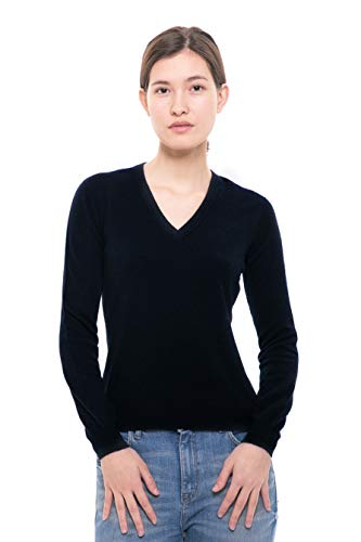 Goyo Cashmere Women's 100% Pure Cashmere Sweater – Long Sleeve V-Neck Pullover (Dark Blue, L)