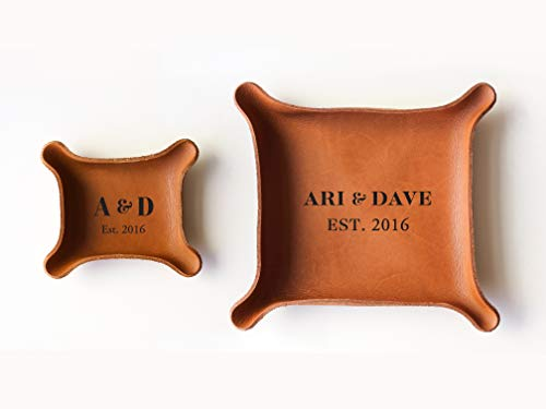 3rd Personalized Leather Tray with Initials & Wedding Year (Small + Large Tray Set, Brown)]()