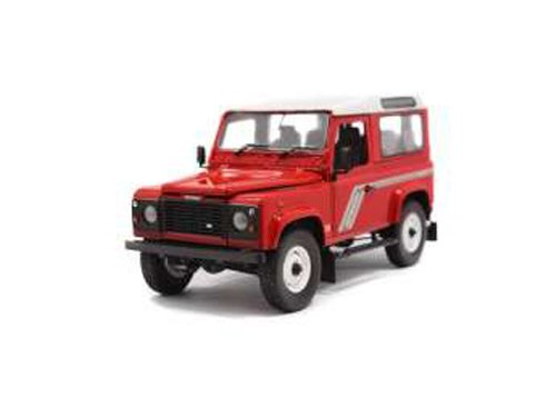 Defender 90 Land Rover (Universal Hobbies 1/18 Scale UH3880 - Land Rover Defender 90 Wagon Red/White)