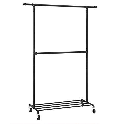 SONGMICS Industrial Style Clothes Garment Rack on Wheels, Double Hanging Rod Metal Clothing Rack, Heavy Duty Commercial Display, Black, ()