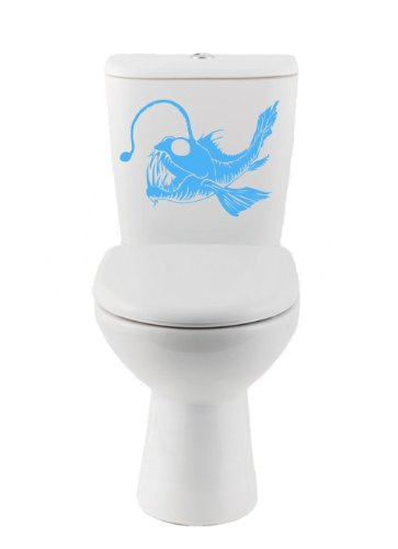 Angler Fish Decal-Toilet, Auto Sticker (Ice Blue - (Angler Ice)