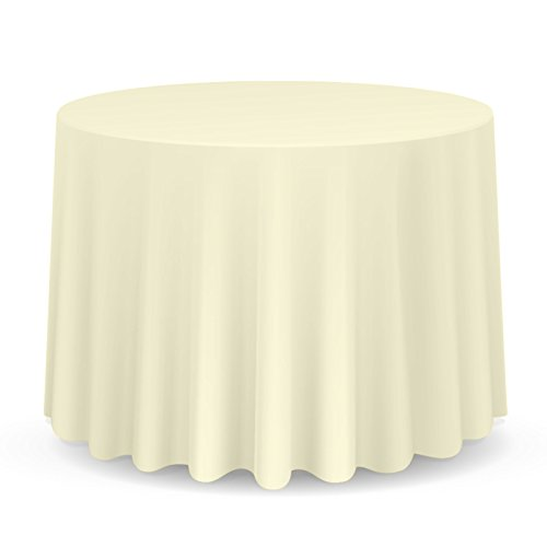 "Lanns Linens 108"" Round Premium Tablecloth for Wedding/Banquet/Restaurant - Polyester Fabric Table Cloth - Ivory"