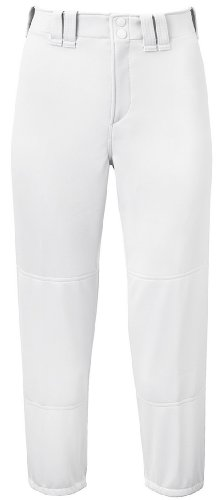 (Mizuno Adult Women's Belted Low Rise Fastpitch Softball Pant, White, Medium)