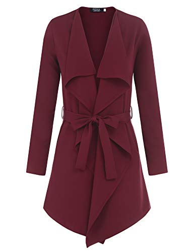 (FISOUL Women's Plus Size Open Front Lightweight Casual Trench Coat (Wine Red, S))
