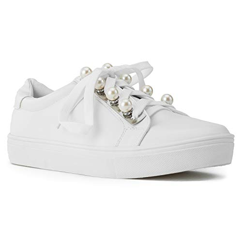 - Women's Casual Low Top Trendy Fashion Sneakers Flats White Size.11