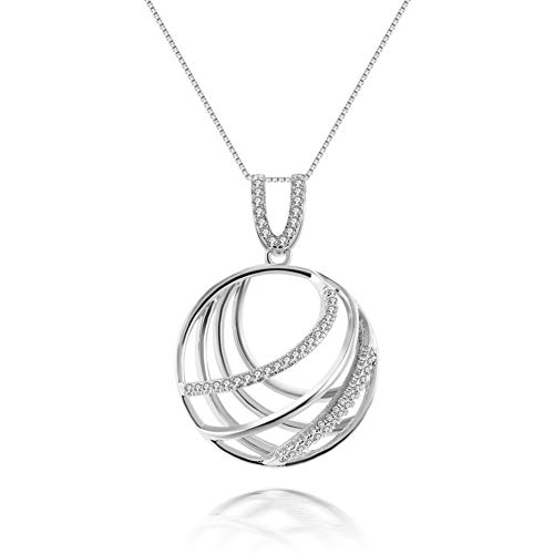 SKA Jewelry Global Necklace for Girls Women Classic Worldwide CZ Pendant Necklace Art Deco Adjustable 20