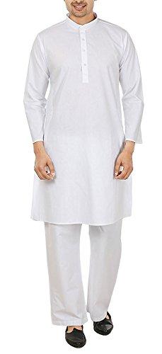 White Linen Tunic (Kurta Pajama Indian Mens Clothing White Cotton Yoga 2 Piece Christmas Dress -XL)