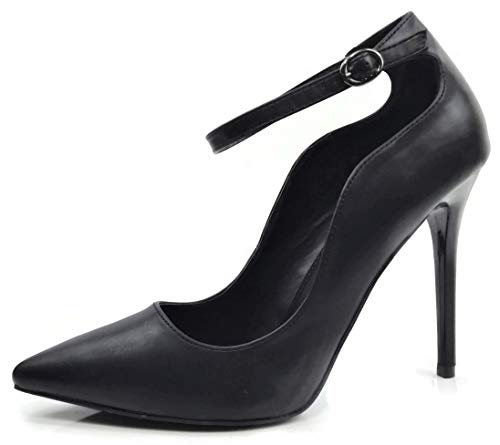 Womens Classic Elegance High Heel Pumps with Ankle Strap, BlackPU, ()