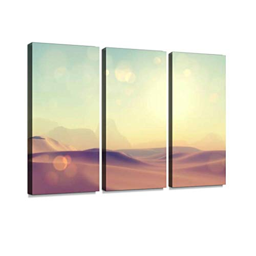 BELISIIS 3D Retro Styled Desert Scene Wall Artwork Exclusive Photography Vintage Abstract Paintings Print on Canvas Home Decor Wall Art 3 Panels Framed Ready to Hang