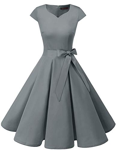 Dresstells Vintage 1950s Solid Color Prom Dresses Cap Sleeve Retro Swing Dress Grey L ()
