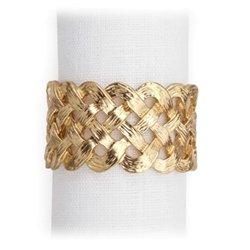 L'Objet Gold Braid Napkin Jewels, Set of 4