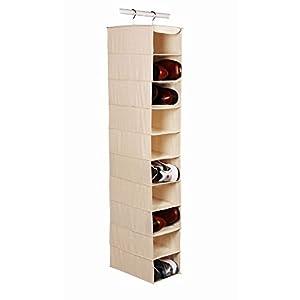Richards Arrow Weave Canvas Large 10 Shelf Hanging Shoe Organizer-beige (1, Natural beige) (4-Pack)