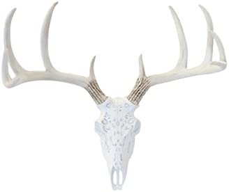 Near and Deer Faux Taxidermy Native American Carving Deer Skull Wall Mount