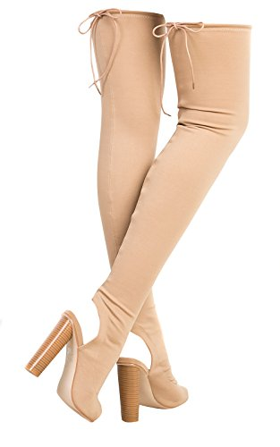 Toe Boots Knee Ikrush Peep Womens High Nude Kylie zYwqvtnxgq