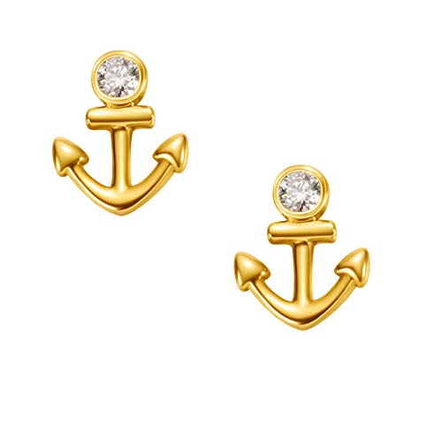 Carleen 18k Solid Yellow Gold Dainty Tiny Statement Anchor Earrings Delicate Fine Jewelry Diamond Stud Earrings for Women -