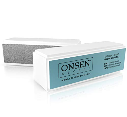 Nail Buffer Block, 3 Way Buffing – File, Smooth, Shine – Mini Natural Nail Polisher with 3 Sides – Coarse, Soft, Silky – Professional Nail Care, White Sanding Block, Perfect Mini Manicure Set by Onsen from Onsen