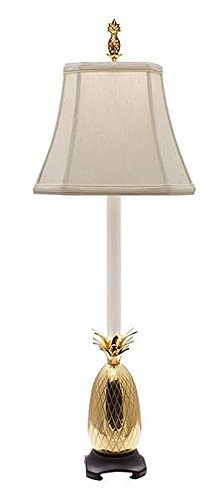 Brass White Shade Pineapple - PINEAPPLE BUFFET LAMP - BRASS WITH OFF WHITE OBLONG SHADE - 33