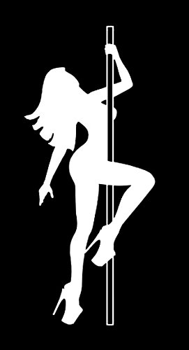 Makarios LLC Pole Dancer Stripper Adult Cars Trucks Vans Walls Laptop MKR| White |5.5 x 2.5|MKR214 (Pole Dance Wall Decal)