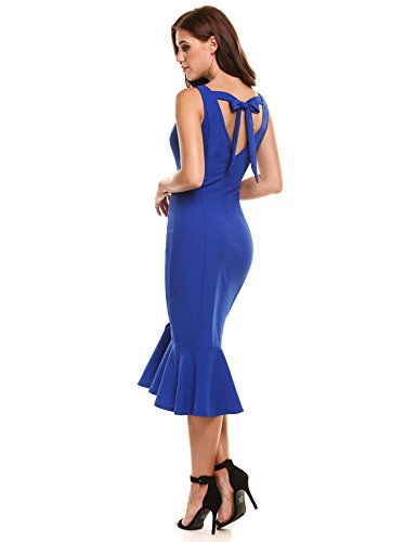 ... Zeagoo Damen Elegant Ärmellos Langes Rückenfreies Abendkleid Partykleid  Cocktailkleid Festkleider Ballkleid Sommerkleid Bodycon mit Bindebande  Fishtail ... 568dca28fe