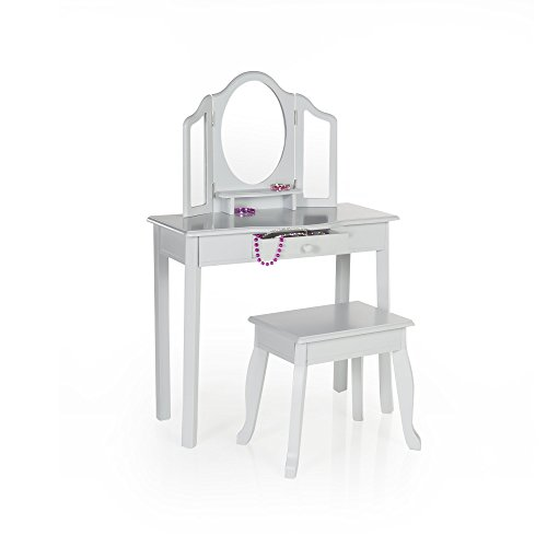 Guidecraft Vanity and Stool – Grey: Kids' Wooden Table and Chair Set with 3 Mirrors, Make-Up Drawer Storage - Toddlers Furniture