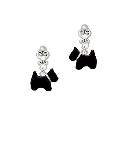 Black Scottie Dog - Filigree Heart Earrings