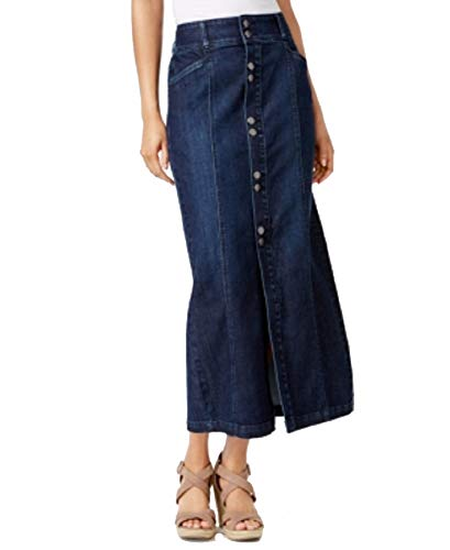 (Style & Co Button-Front Midi Denim Skirt (Congress, 14))