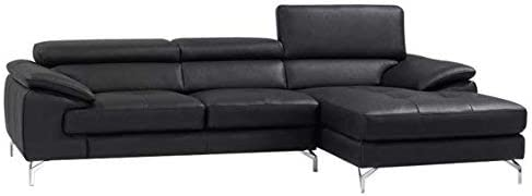 J and M Furniture Italian Leather Mini Sectional Chaise