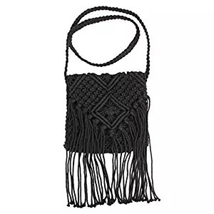Bags Black Crochet Tassel Hinmay Women Fringed Bohemian Bag Beach Tassels Messenger Cross Shoulder zp7qIg7