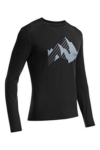 Icebreaker Merino Men's Oasis Long Sleeve Crewe With Graphic, New Streak - Black, X-Large (Icebreaker Oasis)