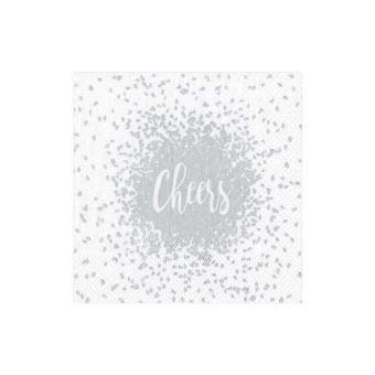 Caspari Cheers Silver Triple-Ply Boxed Paper Cocktail Napkins Set of 40