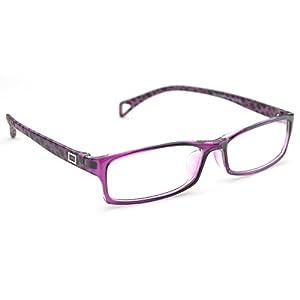 PenSee Fashion Horned Rim Rectangular Eye Glasses Frames Clear Lens (Purple(Dot legs))