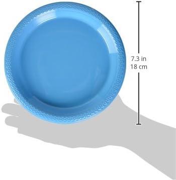 amscan Caribbean Blue Plastic Plates Party Tableware 10 Pk