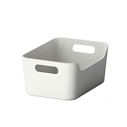 Open storage box,Kitchen Cabinet and Pantry Storage Organizer Bin - two cut-out handles that make 9.4 x 6.75 x 4.3 Inches (Grey/White)