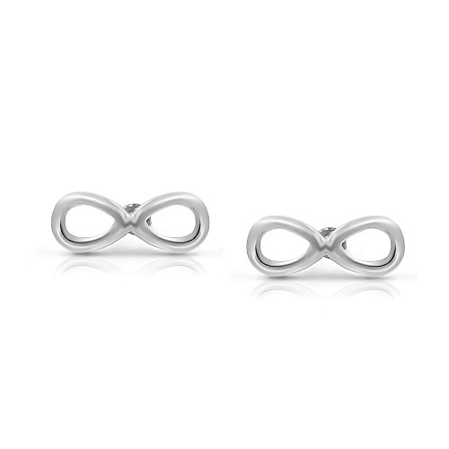 Price comparison product image 316L Surgical Stainless Steel Infinity Safety Screwback Baby Girls Stud Earrings Studs, 8mm