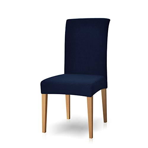 Subrtex Chair Covers Dyed Jacquard Stretch Dining Room Chair Slipcovers (4, Navy)