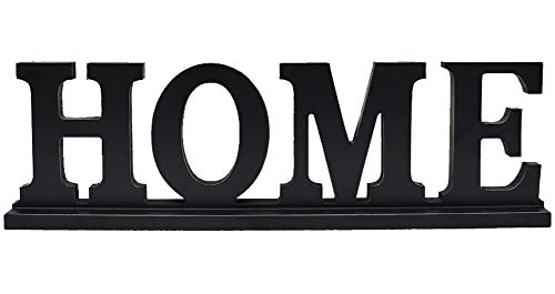 Attraction Design Home Sign Tabletop Decor, Distressed Wooden Cutout Word Decor, Decorative Home Word Art Wood Sitter (Home Sign) (Word Art Home)