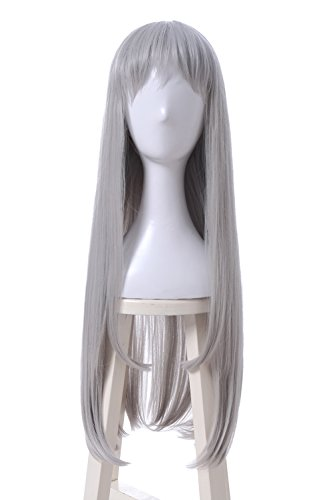 ROLECOS Hideri Kanzaki Cosplay Wig Womens Long Straight Hair Wigs Grey ML298