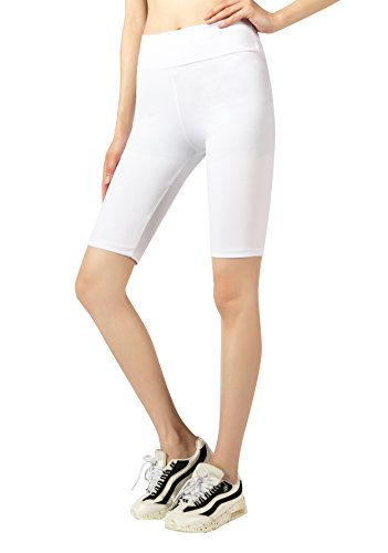 JP Womens Cotton Spandex Boyshort Yoga Bike Shorts (Large, White) (Bike Shorts Leggings)