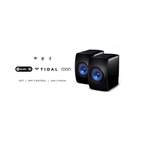 KEF LS50W - SP3903BA - Enceinte sans fil - Enceintes actives | HiFi | Airplay 2 Enceintes | Spotify Connect, TiDAL | LS50 Meilleur système de musique active et système stéréo - Noir/Bleu 3