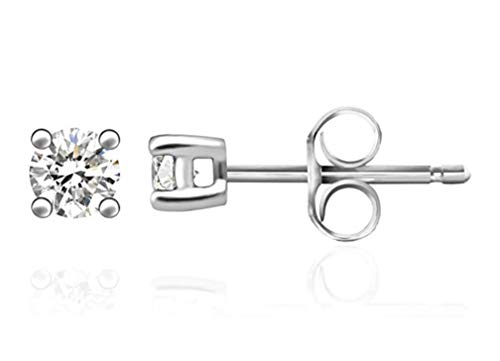 5 pairs Sterling Silver 0.11 Carat Simulated Diamond Earring Studs 3mm Ear Studs w/Earnuts Anniversary Birthday Mother's Women Girls Gift SSE75