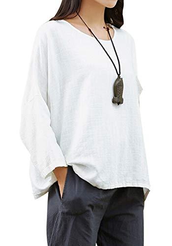 Blanc Rond Tees 3 Col Lache Manches Shirts T 4 Lin Blouse Casual Femmes Printemps Coton Tops Automne et Tumblr Hauts HAxfqwRSf