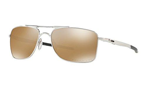 Oakley Gauge 8 Large Sunglasses Polished Chrome with Tungsten Iridium Polarized Lens + - Sunglasses Gauge