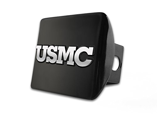 US Marine Corps USMC Black with Chrome USMC BLOCK LETTERS Emblem Metal Hitch Cover Fits 2 Inch Auto Car Truck ()